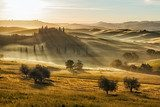 Farmhouse in Val d'Orcia after sunset, Tuscany, Italy
