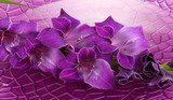 Beautiful gladiolus flower in water on purple background