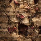 Old music notes with dry roses