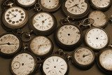 Old clocks on black and white