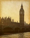 vintage paper. Buildings of Parliament with Big Ben tower