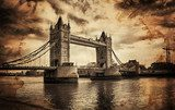 Vintage Retro Picture of Tower Bridge in London, UK