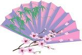 decorated fan and cherry tree blossom