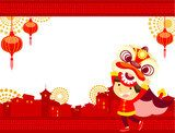 lion dance Chinese New Year Greeting Card