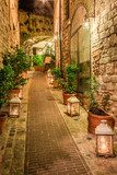 Beautiful decorated street in small town in Italy, Umbria