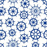 Blue sailing ships helms seamless pattern