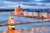 Budapest with chain bridge and parliament, Hungary