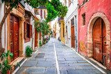 Charming streets of old town in Rethymno.Crete island, Greece