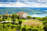 chateau and church in Aiguines and St Croix Lake at background,