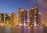 City of Miami Florida, colorful night panorama