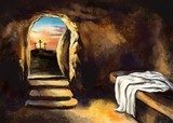 Easter Jesus Christ rose from the dead. Sunday morning. Dawn. The empty tomb in the background of the crucifixion. Happy easter. Christian symbol of faith, art illustration painted with watercolors