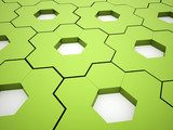 Green hexagonal gears background