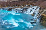 Hraunfossar and Barnafossar Waterfall in Iceland