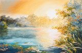 painting - sunset on the lake