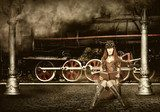 Steampunk and retro-futurism style. Woman traveler