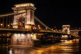 The Szechenyi Chain Bridge in Budapest, Hungary at night
