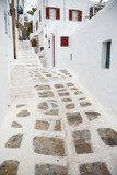 Traditional white ainted alley at Mykonos town, Greece