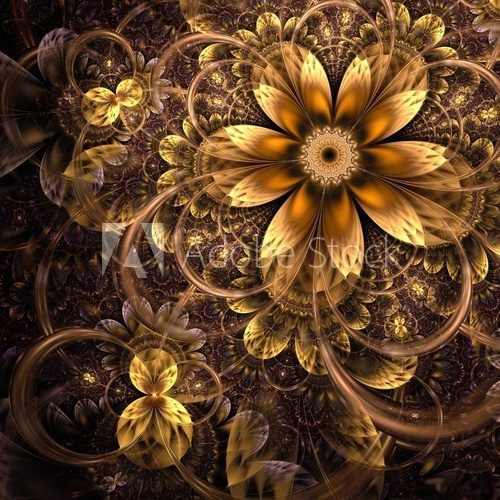 Dark yellow fractal flower, digital artwork
