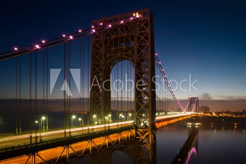 George Washington Bridge lit up in pink