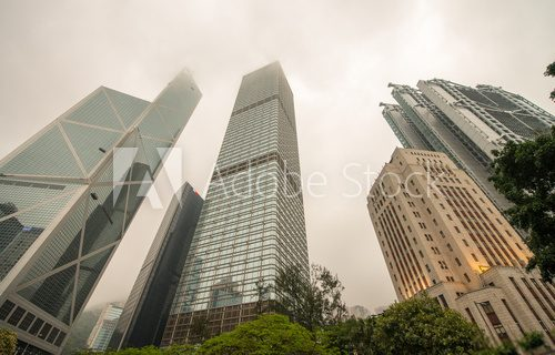 Office Buildings on a cloudy day. Skyscrapers and park trees