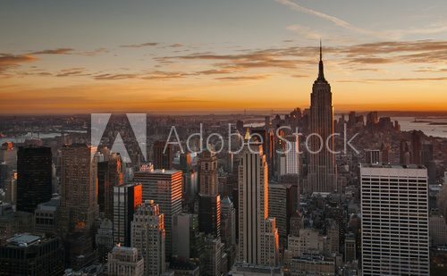 Midtown Manhattan skyline at sunset