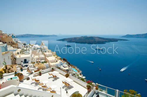 Detail of Fira cityscape on the island of Santorini, Greece.