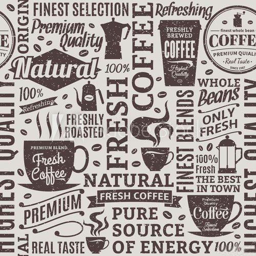 Retro styled typographic vector coffee shop seamless pattern or background