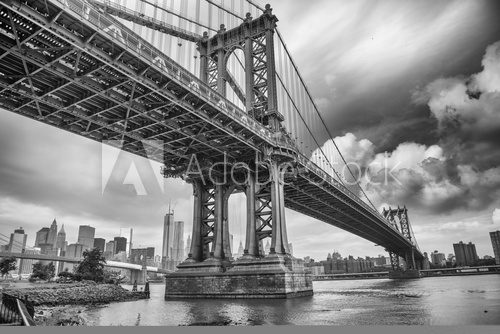 The Manhattan Bridge, New York City. Awesome wideangle upward vi