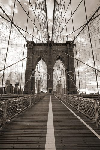 Brooklyn Bridge in New York City. Sepia tone.