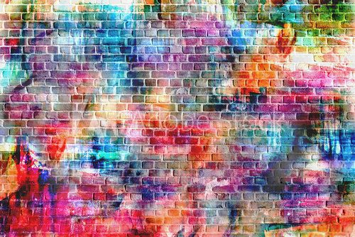 colorful grunge art wall illustration