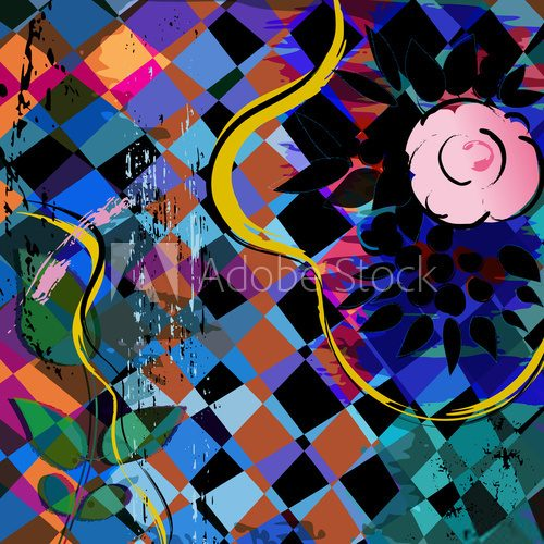 abstract background composition with a rose, strokes, splashes a
