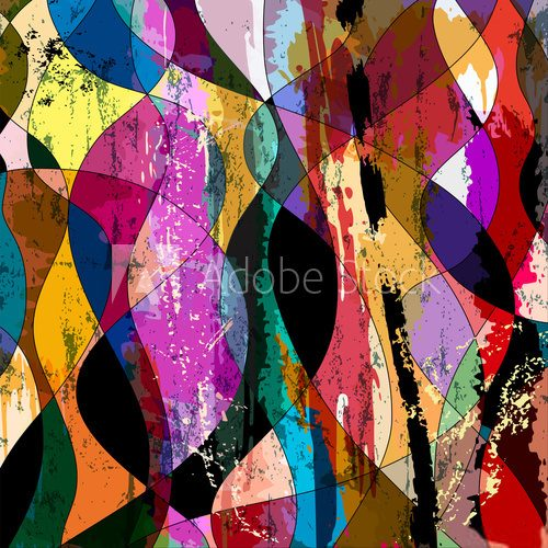 abstract colorful composition, with strokes, splashes