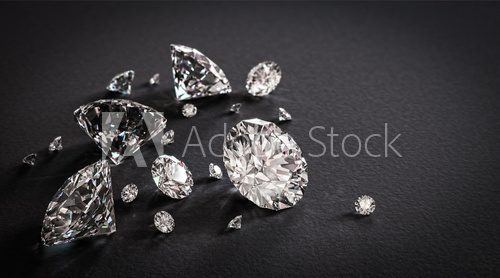 Shiny diamonds on black background