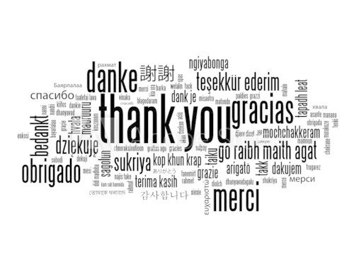 """THANK YOU"" Tag Cloud (a lot thanks gratitude message)"