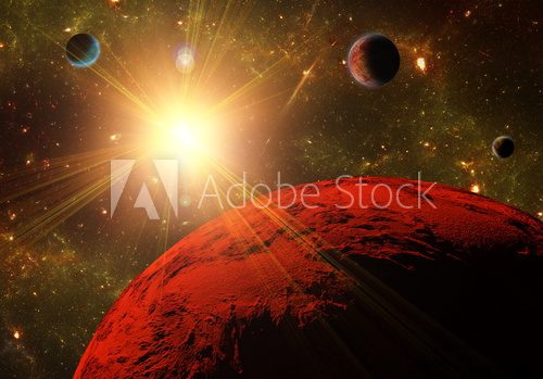 A view of planet, moons and the deep space. Abstract illustratio