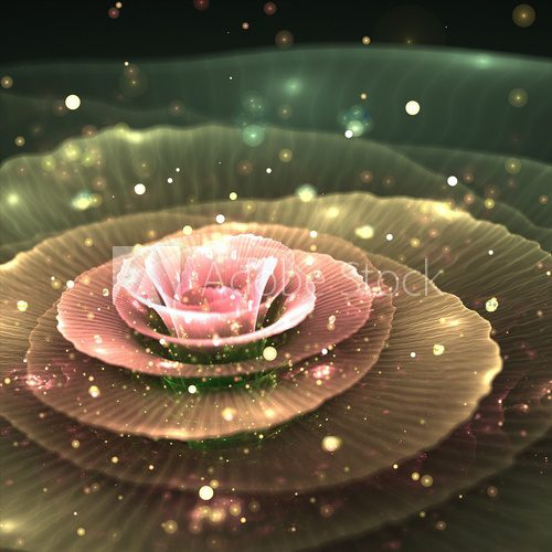 magic fractal flower with droplets of water