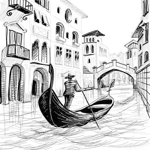 Gondola in Venice vector sketch