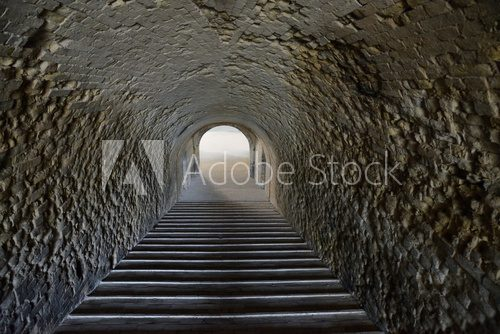 staircase in an old tunnel