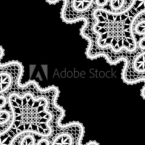 White lace corners on black