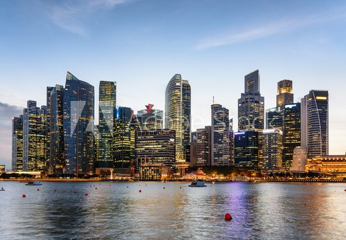 Beautiful evening view of Marina Bay and downtown of Singapore