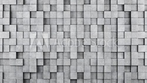 Wall of concrete cubes as wallpaper or background. 3D rendering