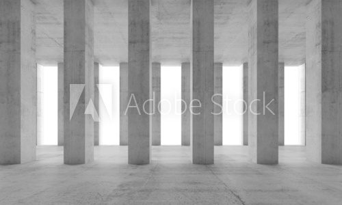 Interior with concrete columns and white windows, 3d