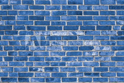 Seamless Brick wall background colored in Classic Blue color in high resolution