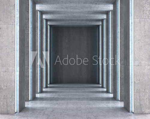 Square with concrete floor and walls. 3D illustration
